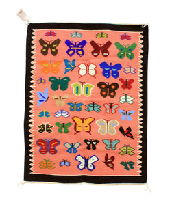 "Wenora Joe, Navajo Rug, Pictoral, Butterfly Design, Handwoven, 33"" x 44"""