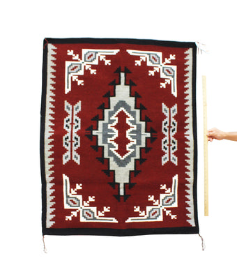 "Load image into Gallery viewer, Annie E Yazzie, Navajo Rug, Ganado Red, Handwoven, 49"" x 40"""