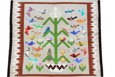 "Load image into Gallery viewer, Marilyn Begay, Tree Of Life Rug, Navajo, Handwoven, 33"" x 36"""