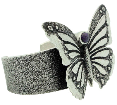 Load image into Gallery viewer, Kelsey Jimmie, Bracelet, Butterfly Design, Sugilite, Tufa, Navajo Made, 6 1/2""