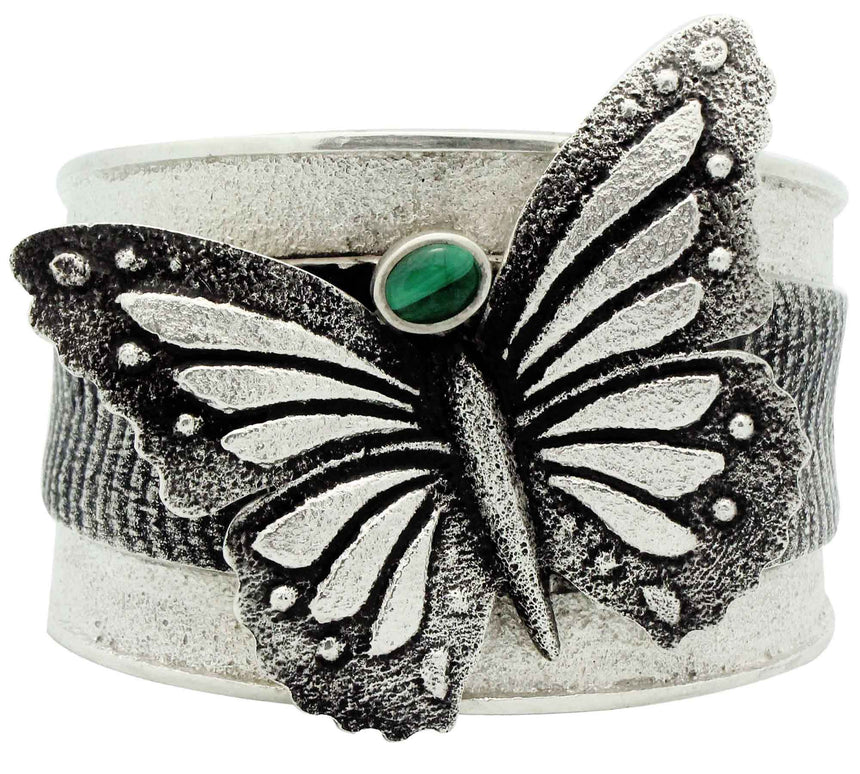 Kelsey Jimmie, Bracelet, Butterfly Design, Malachite, Tufa, Navajo Made, 6 1/2