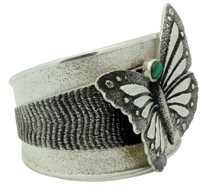 Kelsey Jimmie, Bracelet, Butterfly Design, Malachite, Tufa, Navajo Made, 6 1/2""