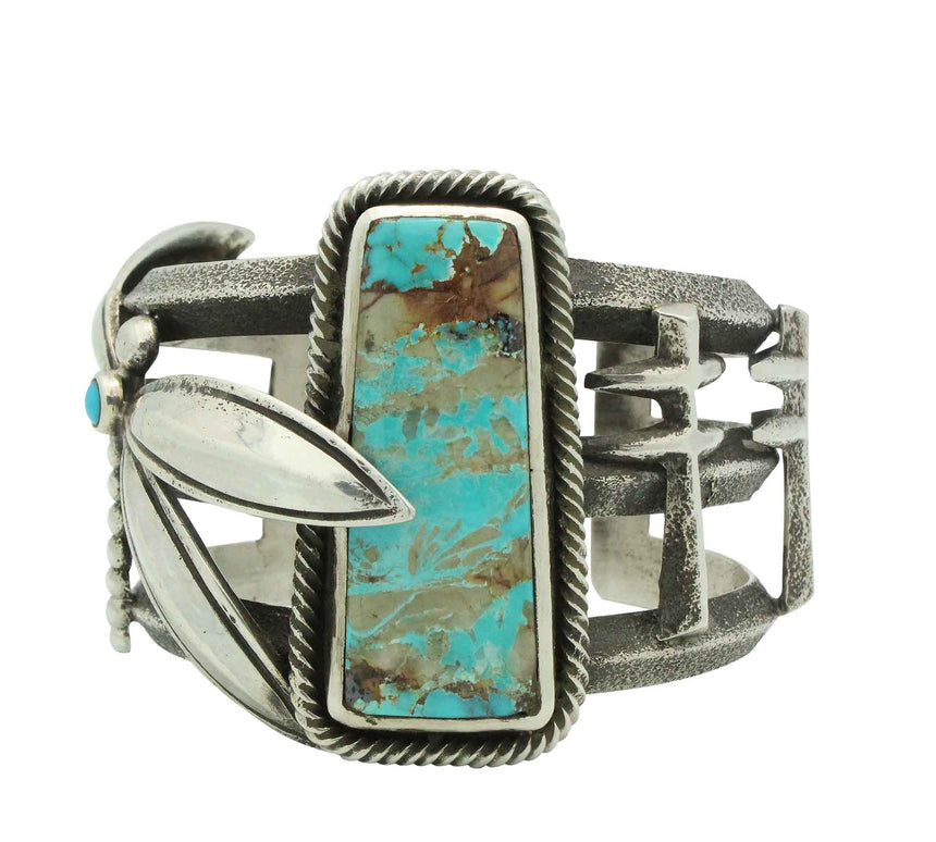 Roy Tracy, Bracelet, Pilot Mountain Turquoise, Dragonflies, Navajo Made, 6 7/8