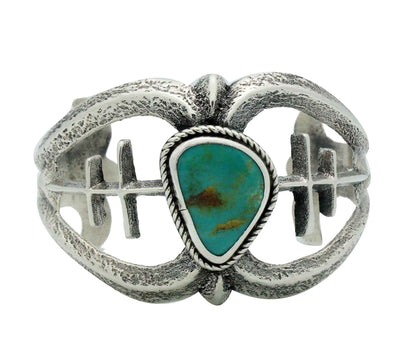 Load image into Gallery viewer, Gary Custer, Bracelet, Tufa Cast, Fox Turquoise, Silver, Navajo Handmade, 6 1/2""