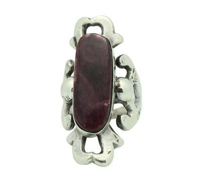 Load image into Gallery viewer, Carole, Wilson Begay, Ring, Purple Spiny Oyster Shell, Navajo Handmade, 9 1/2