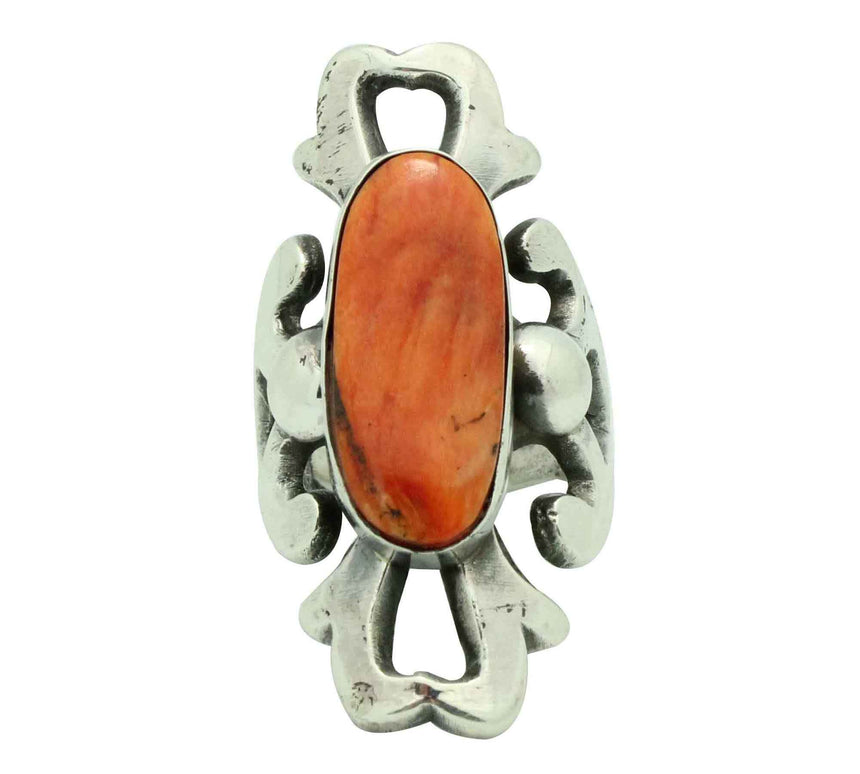 Carole, Wilson Begay, Ring, Orange Spiny Oyster Shell, Navajo Handmade, 8 1/2