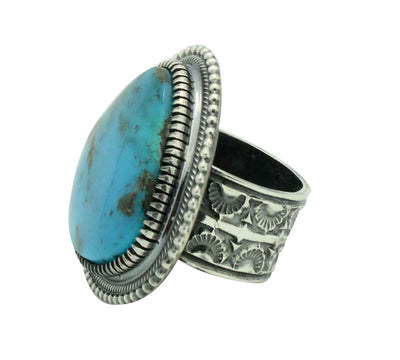 Load image into Gallery viewer, Floyd Parkhurst, Ring, Heavy Silver, Kingman Turquoise, Navajo Handmade, 10 1/2