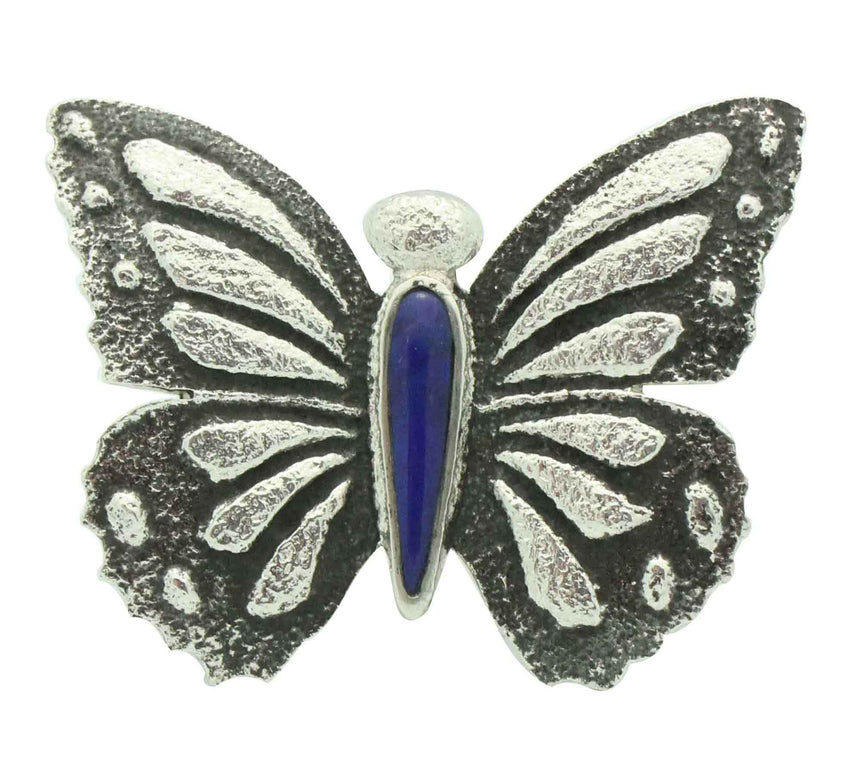 Kelsey Jimmie, Ring, Butterfly Design, Blue Lapis, Tufa Cast, Navajo Made, 7 1/2
