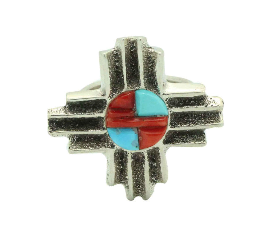 Gary Custer, Ring, Zia Design, Turquoise, Coral, Tufa Cast, Navajo Made, 8