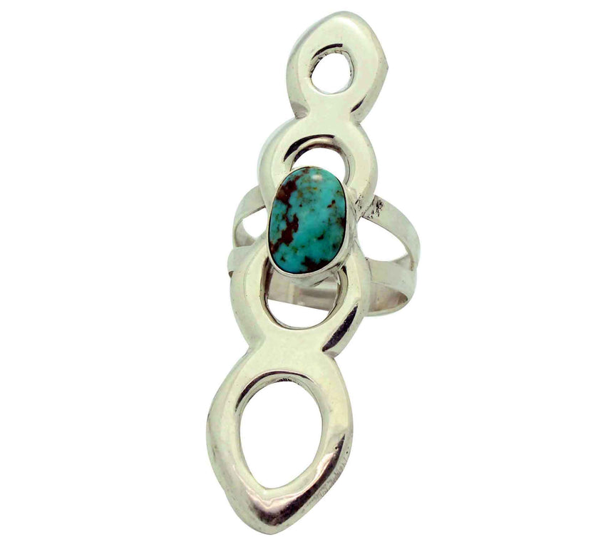 Mildred Parkhurst, Ring, Long, Turquoise Mountain, Sandcast, Navajo Made, 9 1/2