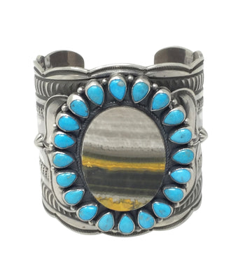 Load image into Gallery viewer, Andy Cadman, Bracelet, Cluster, Turquoise, Bumble Bee Jasper, Navajo, 6 7/8""