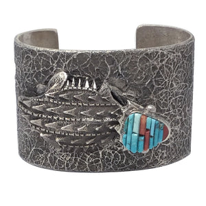 Philander Begay, Bracelet, Horned Toad, Coral, Turquoise, Navajo Made, 6 3/4""