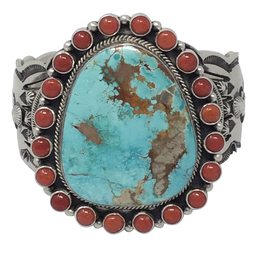 Aaron Toadlena, Custer Bracelet, Royston Turquoise, Coral, Navajo Made, 6 3/4