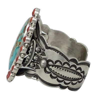 Load image into Gallery viewer, Aaron Toadlena, Custer Bracelet, Royston Turquoise, Coral, Navajo Made, 6 3/4""