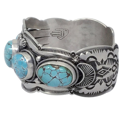 Load image into Gallery viewer, Aaron Toadlena, Row Bracelet, Carico Lake Turquoise, Navajo Handmade, 7 3/8""