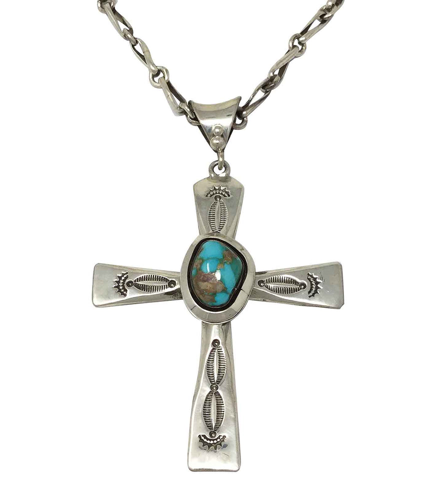 Ben Begaye, Necklace, Pilot Mountain Turquoise, Silver Cross, Navajo Made, 23