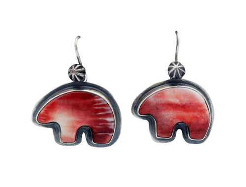 Andy Cadman, Pierced Earrings, Red Spiny Oyster, Bear, Navajo Handmade,