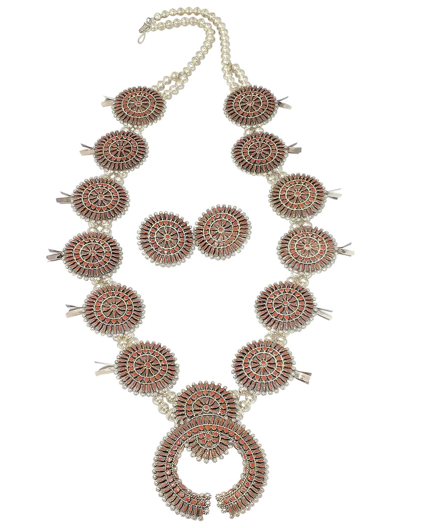 Merlinda Chavez, Squash Blossom Necklace, Earrings, Coral, Zuni Handmade, 35