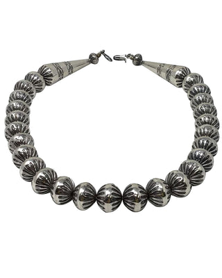 Load image into Gallery viewer, Jeffrey Nelson, Silver Bead Necklace, Fluted Design, Navajo Handmade, 19""
