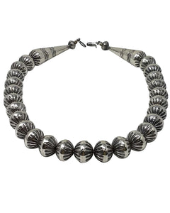 Jeffrey Nelson, Silver Bead Necklace, Fluted Design, Navajo Handmade, 19""