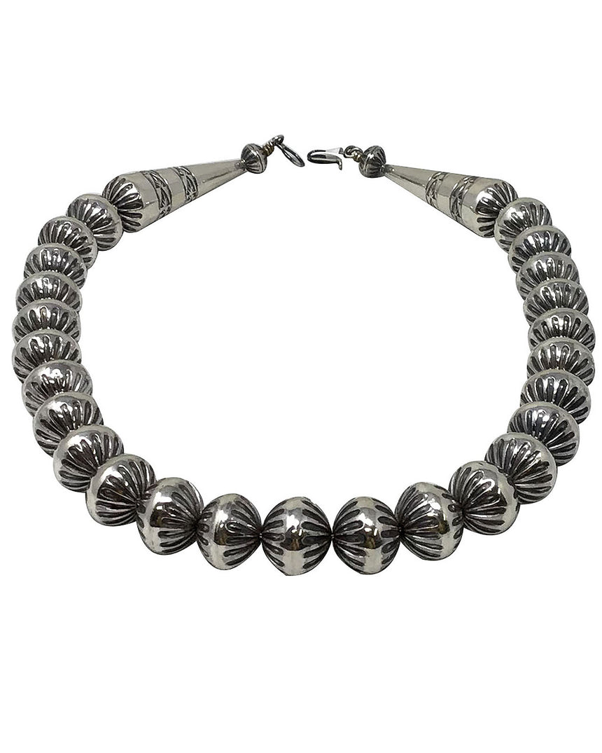 Jeffrey Nelson, Silver Bead Necklace, Fluted Design, Navajo Handmade, 19