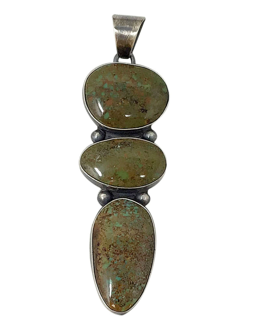Mildred Parkhurst, Pendant, Turquoise Mountain, Antiqued, Navajo Made, 3 1/2