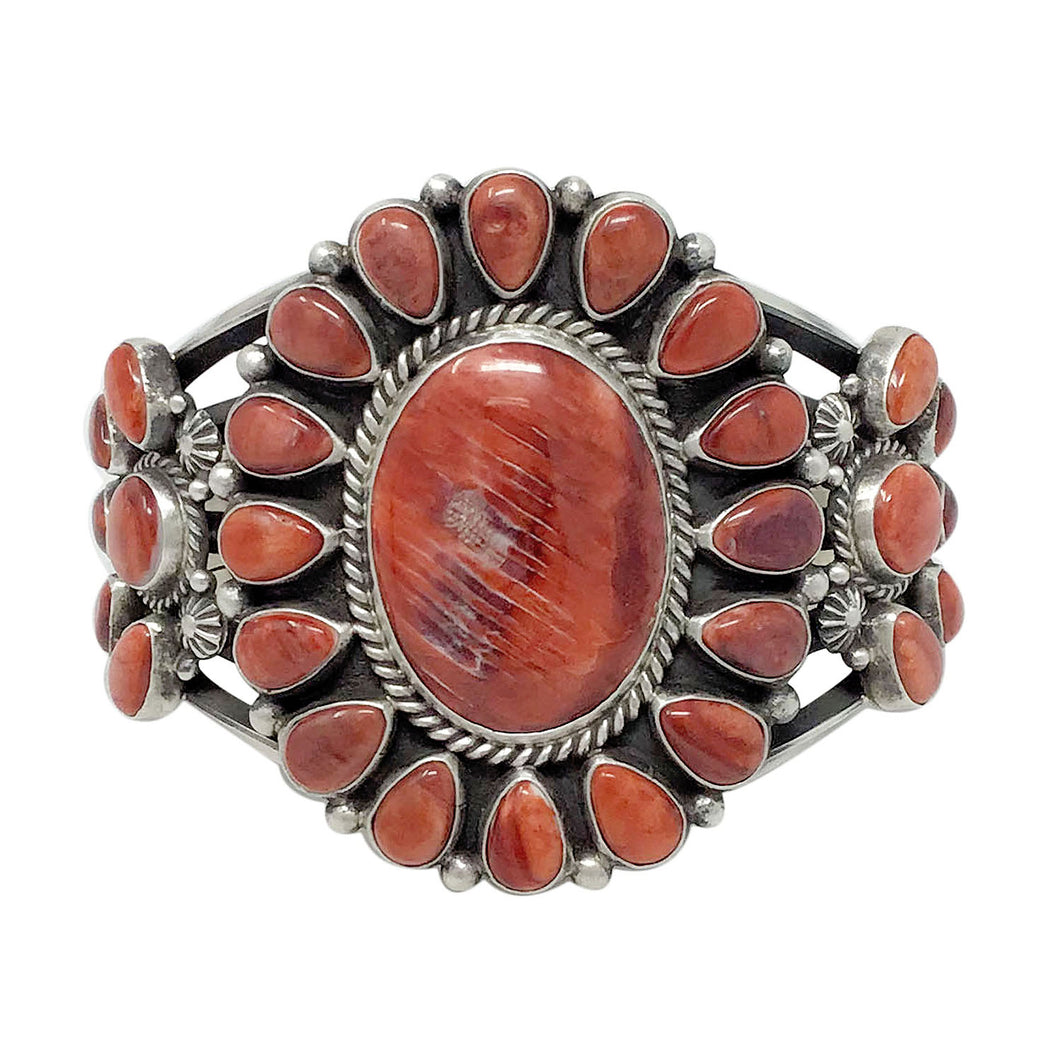 Tyler Brown, Bracelet, Red Spiny Shell, Double Cluster, Navajo Handmade, 6 5/8
