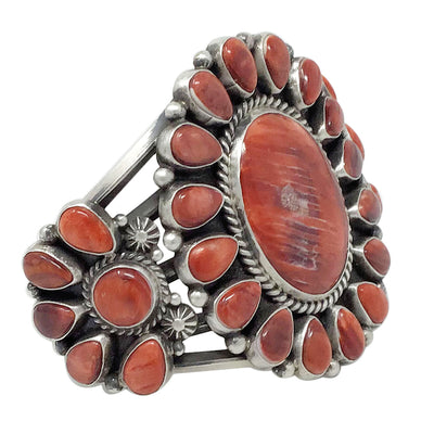 Load image into Gallery viewer, Tyler Brown, Bracelet, Red Spiny Shell, Double Cluster, Navajo Handmade, 6 5/8""