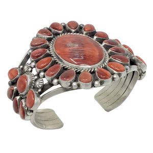 Tyler Brown, Bracelet, Red Spiny Shell, Double Cluster, Navajo Handmade, 6 5/8""