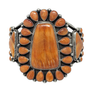 Tyler Brown, Bracelet, Orange Spiny Shell, Huge Cluster, Navajo Made, 6 1/2""