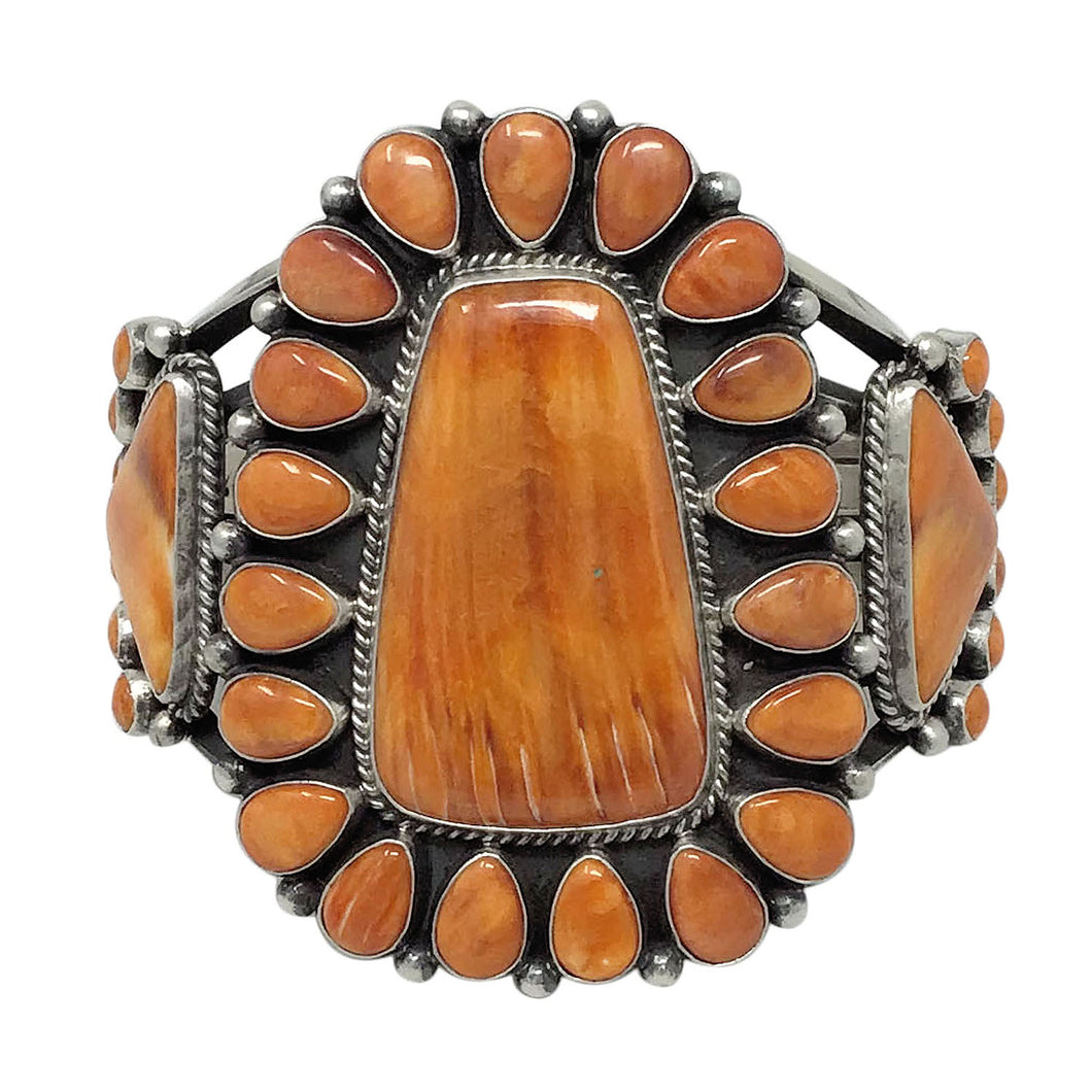 Tyler Brown, Bracelet, Orange Spiny Shell, Huge Cluster, Navajo Made, 6 1/2