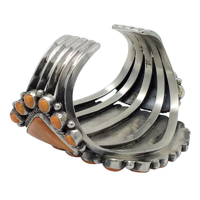 Load image into Gallery viewer, Tyler Brown, Bracelet, Orange Spiny Shell, Huge Cluster, Navajo Made, 6 1/2""