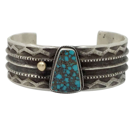 Julian Chavez, Bracelet, Indian Mountain Turquoise, 14k, Navajo Handmade, 7 1/4