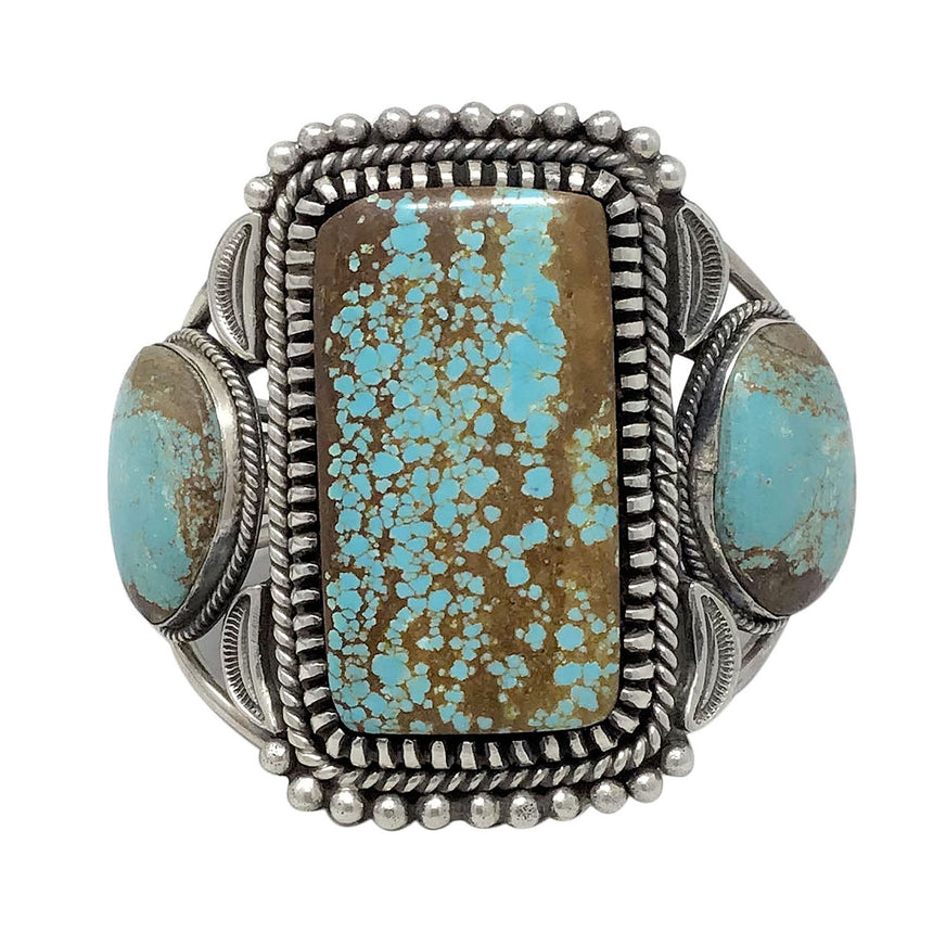 Dave Lister, Bracelet, Number Eight Turquoise, Heavy, Navajo Handmade, 7