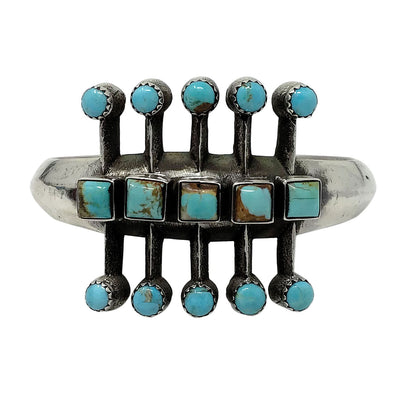 Load image into Gallery viewer, Aaron Anderson, Bracelet, Kingman Turquoise, Bug Inspired, Navajo Made, 6 1/2""