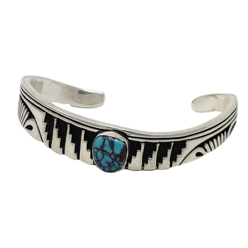 Kary Begay, Bracelet, Indian Mountain Turquoise, Overlay, Navajo Made, 6 3/4