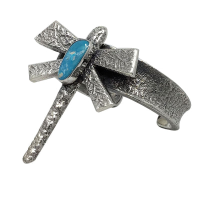 Load image into Gallery viewer, Gary Custer, Bracelet, Blue Bird Turquoise, Dragonfly, Navajo Handmade, 6 1/8""