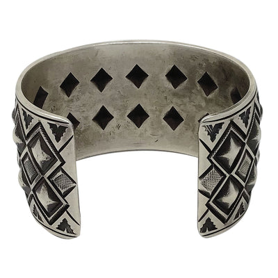Load image into Gallery viewer, Calvin Martinez, Bracelet, Bump Out, Double Diamond, Navajo Handmade, 7""