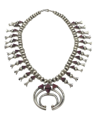 Load image into Gallery viewer, Selena Warner, Squash Blossom Necklace, Purple Spiny Oyster, Navajo Made, 24""