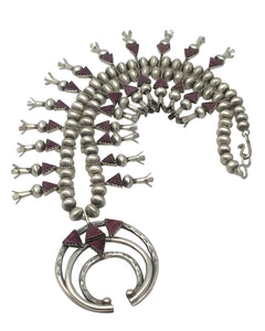 Selena Warner, Squash Blossom Necklace, Purple Spiny Oyster, Navajo Made, 24""