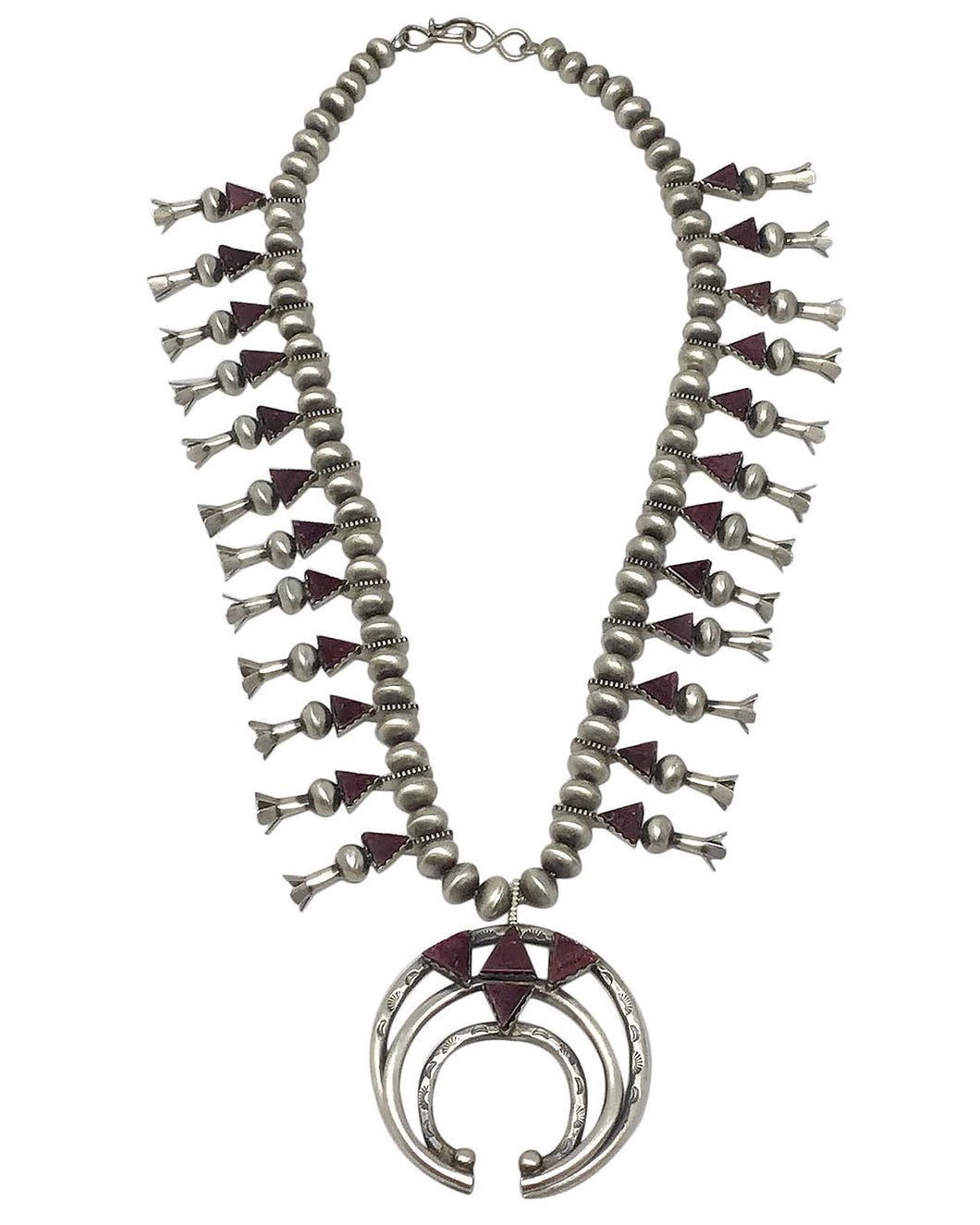 Selena Warner, Squash Blossom Necklace, Purple Spiny Oyster, Navajo Made, 24