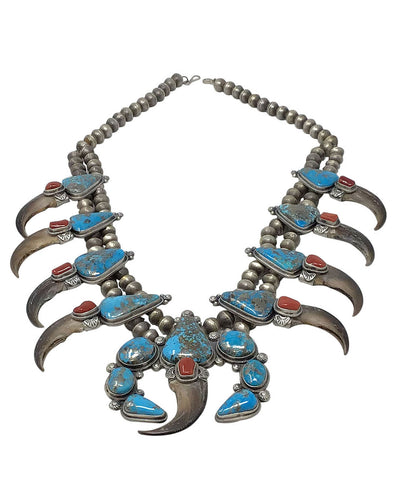Freddie Maloney, Squash Blossom Necklace, Turquoise, Coral, Navajo Made, 30