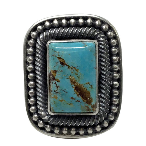 Ernest Roy Begay, Ring, Turquoise Mountain, Sterling Silver, Navajo Handmade, 7
