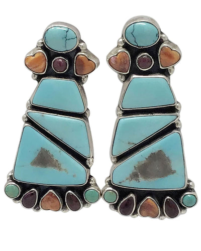 Vernon, Clarissa Hale, Earrings, Turquoise, Spiny Oyster Shell, Navajo, 2 1/4