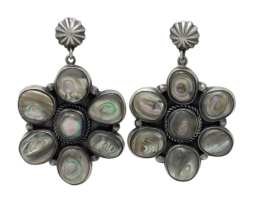 Andy Cadman, Cluster Earring, Abalone Shell, Silver, Navajo Handmade, 2 3/4