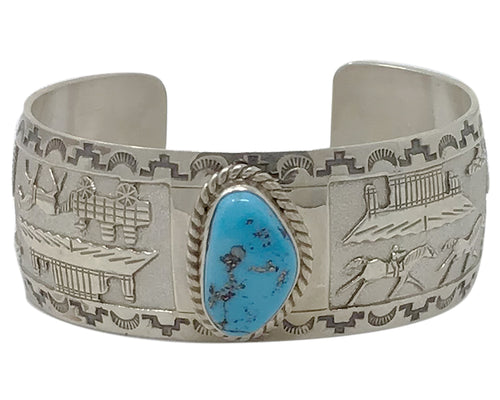 James Belone, Bracelet, Storyteller, Arizona Turquoise, Navajo Handmade, 6 3/4