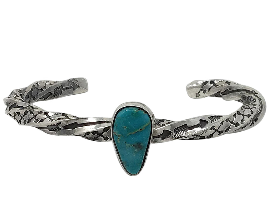 Sunshine Reeves, Bracelet, Twisted Square Wire, Turquoise, Navajo Made, 6 1/4