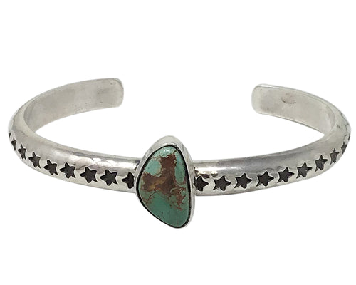Sunshine Reeves, Bracelet, Star Stamp, Royston Turquoise, Navajo Made, 6 1/2