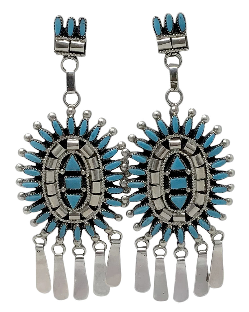 Evonne Hustito, Earrings, Sleeping Beauty Turquoise, Zuni Handmade, 3 3/4