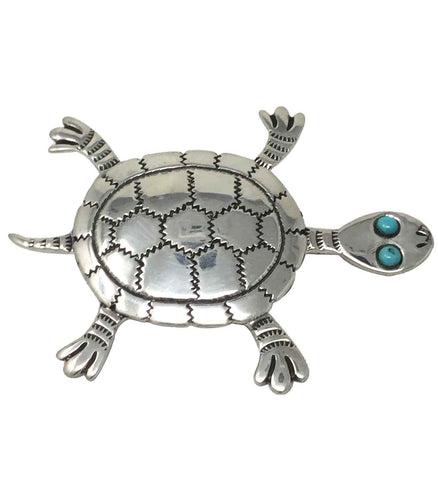 Russell Lee, Pin, Turtle, Turquoise, Silver, Navajo Handmade, 2 1/2